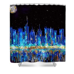 Abstract City Skyline Shower Curtain
