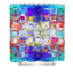 Shower Curtain featuring the digital art Abstract Color Blocks by Anita Lewis