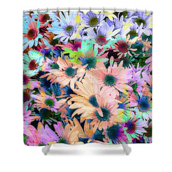 Abstract Colored Flowers Shower Curtain