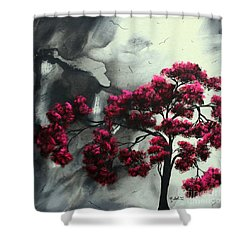 Abstract Contemporary Art Landscape Painting Modern Artwork Pink Passion By Madart Shower Curtain by Megan Duncanson