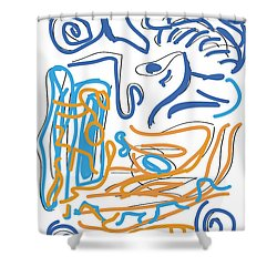 Abstract Digital Shower Curtain