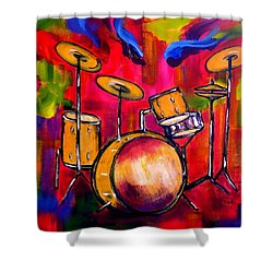 Abstract Drums II Shower Curtain by Pete Maier