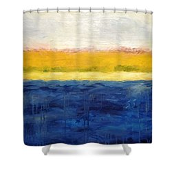 Abstract Dunes With Blue And Gold Shower Curtain