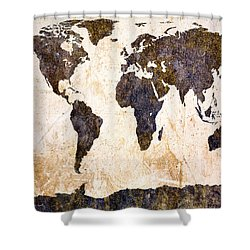 Abstract Earth Map Shower Curtain by Bob Orsillo
