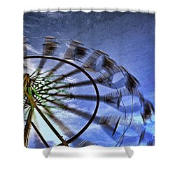 Abstract Ferris Wheel Shower Curtain by Linda Blair