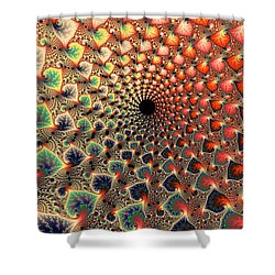 Abstract Floral Fractal Art Tall And Narrow Shower Curtain by Matthias Hauser