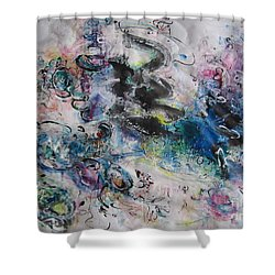 Abstract Flower Field Painting Blue Pink Green Purple Black Landscape Painting Modern Acrylic Pastel Shower Curtain by Seon-Jeong Kim
