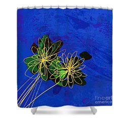 Abstract Flowers On Blue Shower Curtain