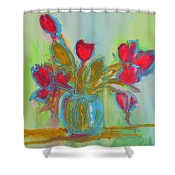 Abstract Flowers Shower Curtain by Patricia Awapara