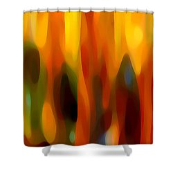 Abstract Forest Shower Curtain by Amy Vangsgard