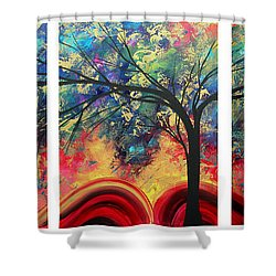 Abstract Gold Textured Landscape Painting By Madart Shower Curtain by Megan Duncanson