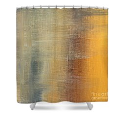 Abstract Golden Yellow Gray Contemporary Trendy Painting Fluid Gold Abstract I By Madart Studios Shower Curtain by Megan Duncanson