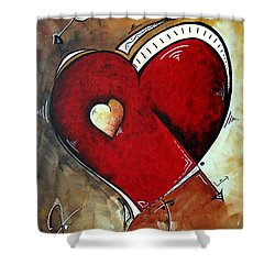 Abstract Heart Original Painting Valentines Day Heart Beat By Madart Shower Curtain by Megan Duncanson