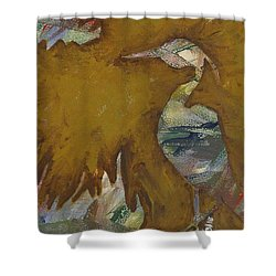Abstract Heron Shower Curtain