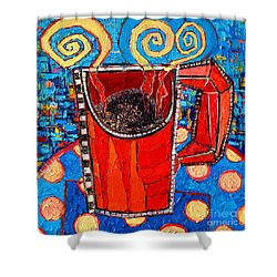 Abstract Hot Coffee In Red Mug Shower Curtain