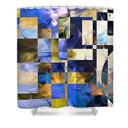 Shower Curtain featuring the painting Abstract In Blue And White by Curtiss Shaffer