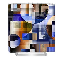 Shower Curtain featuring the painting Abstract In Blue by Curtiss Shaffer