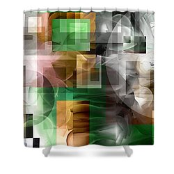 Shower Curtain featuring the painting Abstract In Green by Curtiss Shaffer