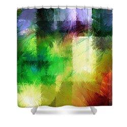 Shower Curtain featuring the painting Abstract In Primary by Curtiss Shaffer