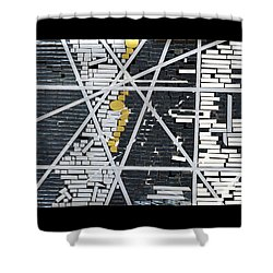 Abstract In Tape And Letterforms 5 Shower Curtain by Agustin Goba