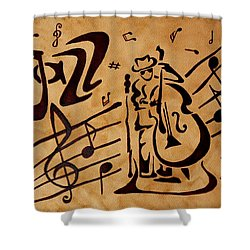 Shower Curtain featuring the painting Abstract Jazz Music Coffee Painting by Georgeta  Blanaru