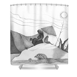 Abstract Landscape Art Black And White Beach Cirque De Mor By Romi Shower Curtain by Megan Duncanson