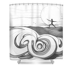 Abstract Landscape Art Black And White Yoga Zen Pose Between The Lines By Romi Shower Curtain by Megan Duncanson