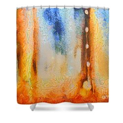 Abstract Lift Off  Shower Curtain by Pixel Chimp