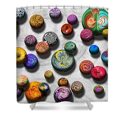 Abstract - Marbles Shower Curtain by Mike Savad