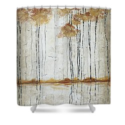 Abstract Neutral Landscape Pond Reflection Painting Mystified Dreams I By Megan Ducanson Shower Curtain by Megan Duncanson