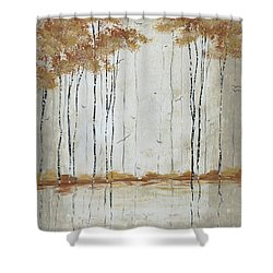 Abstract Neutral Landscape Pond Reflection Painting Mystified Dreams II By Megan Ducanson Shower Curtain by Megan Duncanson