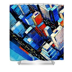 Abstract New York Sky View Shower Curtain by Mona Edulesco