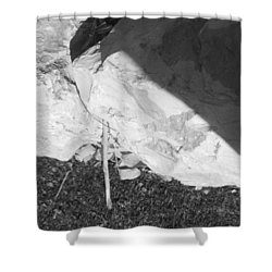 Shower Curtain featuring the photograph Abstract Of Rock And Shadow by Esther Newman-Cohen