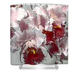 Abstract Orchid Shower Curtain by Linda  Parker