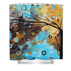 Abstract Painting Chocolate Brown Whimsical Landscape Art Baby Blues By Madart Shower Curtain by Megan Duncanson