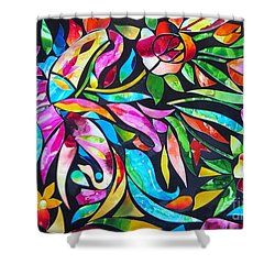 Abstract Paisley And Flowers Shower Curtain