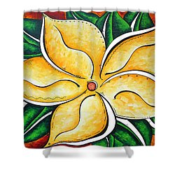 Abstract Pop Art Yellow Plumeria Flower Tropical Passion By Madart Shower Curtain by Megan Duncanson