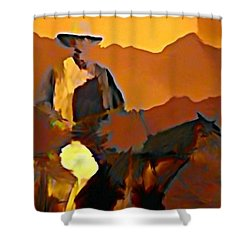 Abstract Range Riding Shower Curtain by John Malone