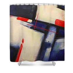 Abstract Red Blue Shower Curtain