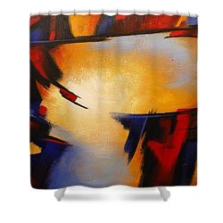 Abstract Red Blue Yellow Shower Curtain