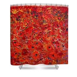 Abstract Red Poppies Field At Sunset Shower Curtain by Ana Maria Edulescu