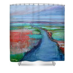 Abstract River Shower Curtain by Donna Tuten