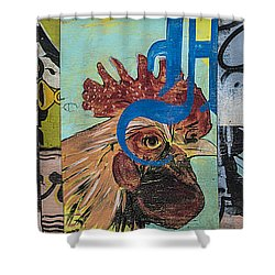 Shower Curtain featuring the mixed media Abstract Rooster Panel by Terry Rowe