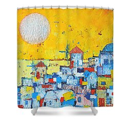 Abstract Santorini - Oia Before Sunset Shower Curtain