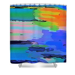 Abstract Seascape At Sunset Shower Curtain by Dee Flouton