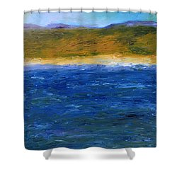 Abstract Shoreline Shower Curtain by Michelle Calkins