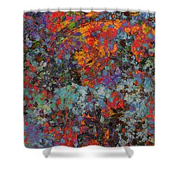 Shower Curtain featuring the mixed media Abstract Spring by Ally  White