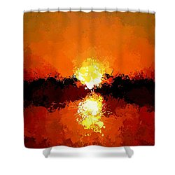 Abstract Sunset On The Sea Shower Curtain