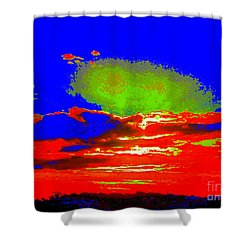 Abstract Sunset Orange Blue Green And So On Shower Curtain