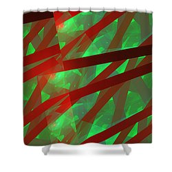 Abstract Tiled Green And Red Fractal Flame Shower Curtain by Keith Webber Jr